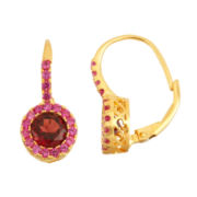Genuine Garnet & Lab Created Ruby 14K Gold Over Silver Earrings