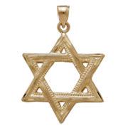 14K Yellow Gold Star Of David Charm Pendant