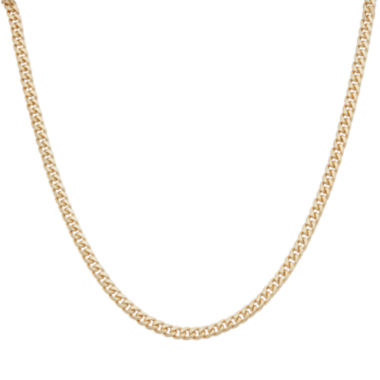"jcpenney.com | Mens 24"" 18K Yellow Gold Over Silver Flat Curb Chain Necklace"