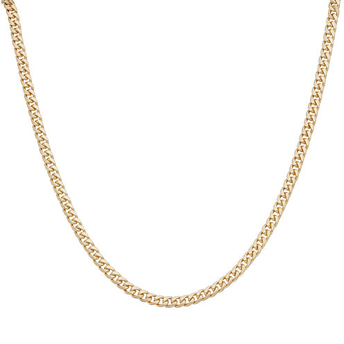 "Mens 24"" 18K Yellow Gold Over Silver Flat Curb Chain Necklace"