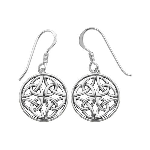 Sterling Silver Celtic Circle Drop Earrings
