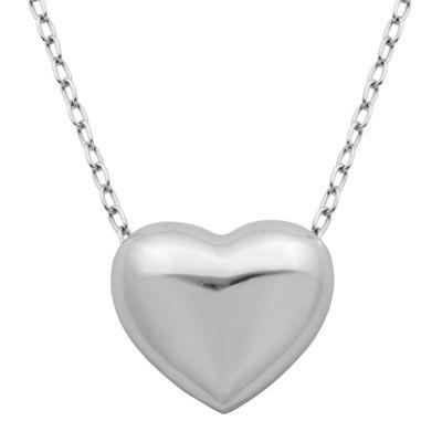 Sterling silver puffed heart pendant necklace jcpenney sterling silver puffed heart pendant necklace aloadofball Gallery