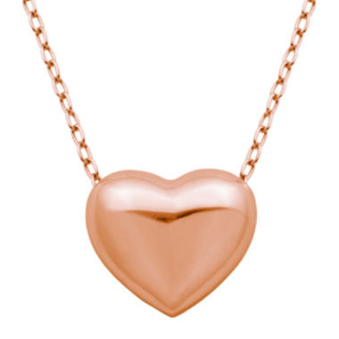 jcpenney.com | 18K Rose Gold Over Silver Puffed Heart Pendant Necklace