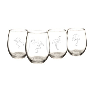 jcpenney.com | Cathy's Concepts Set of 4 Flamingo Stemless Wine Glasses
