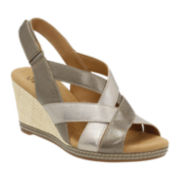 Clarks® Helio Coral Wedge Ankle-Strap Sandals