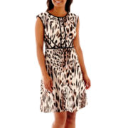 Studio 1® Animal Print Fit-and-Flare Dress