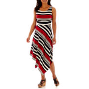 DR Collection Sleeveless Striped Asymmetrical Hem Maxi Dress