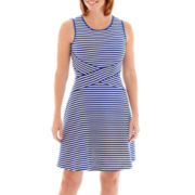 Trulli Sleeveless Textured Stripe Fit-and-Flare Dress - Petite