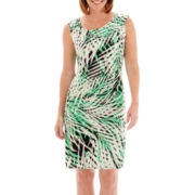 London Style Collection Sleeveless Tropical Print Sheath Dress - Petite