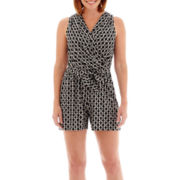 London Style Collection Sleeveless V-Neck Tie-Waist Romper - Petite