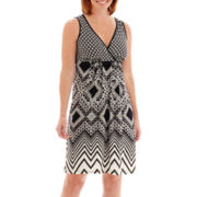London Style Collection Sleeveless V-Neck Print Fit-and-Flare Dress - Petite