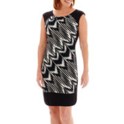 London Style Collection Cap-Sleeve Multi-Print Sheath Dress - Petite