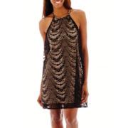 London Style Collection Sleeveless Halter Sheath Dress - Petite