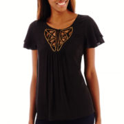 a.n.a® Flutter-Sleeve Embellished-Neck Woven Top - Tall