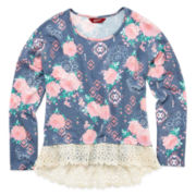 Arizona Long-Sleeve High-Low Lace Top - Girls 7-16 and Plus