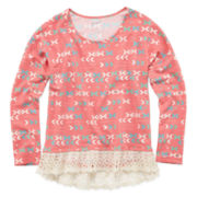 Arizona Long-Sleeve Super Soft Lace Top - Girls 7-16 and Plus