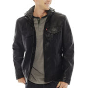 Levi's® Faux-Leather Trucker Jacket with Hood