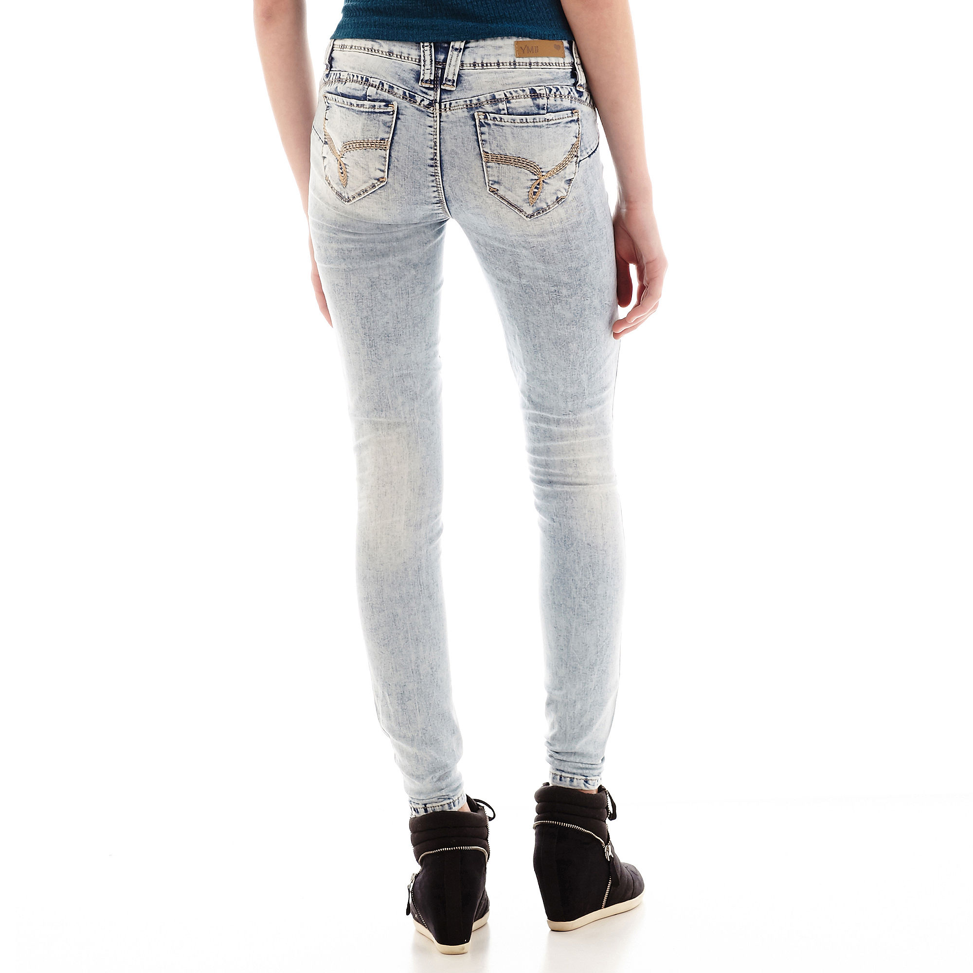 YMI Wanna Betta Butt Acid-Wash Skinny Jeans