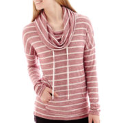 City Streets® Long-Sleeve Hooded Pullover Striped Tunic