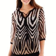 i jeans by Buffalo 3/4-Sleeve Zebra Print Top