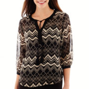 i jeans by Buffalo 3/4-Sleeve Tribal Diamond Print Top