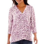 a.n.a® 3/4-Sleeve Smocked Shoulder V-Neck Blouse