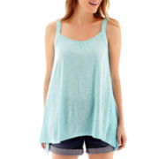 a.n.a® Sleeveless Crochet Side Split-Hem Top - Petite