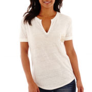 a.n.a® Short-Sleeve Textured Split-Neck Pocket T-Shirt - Tall