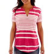 a.n.a® Short-Sleeve Split-Neck Textured T-Shirt
