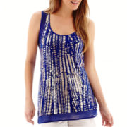 a.n.a® Foil Print Chiffon-Bottom Tank Top