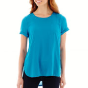 Stylus™ Short-Sleeve Woven-and-Knit T-Shirt - Tall