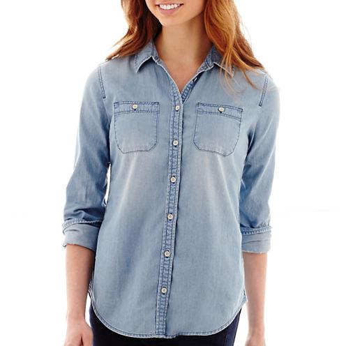 Stylus™ Long-Sleeve Boyfriend Denim Shirt