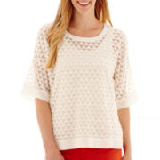Stylus™ 3/4 Length Sleeve Textured Peasant Top