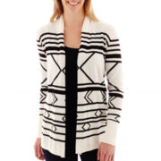 Stylus™ Long-Sleeve Intarsia Flyaway Cardigan Sweater - Tall
