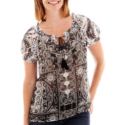 St. John's Bay® Short-Sleeve Peasant Top - Petite