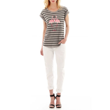 jcpenney.com | I 'Heart' Ronson® Flamingo Screen T-Shirt or Distressed Boyfriend Jeans