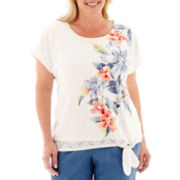 Alfred Dunner® Paradise Island Short-Sleeve Floral Lace Top - Plus