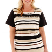 Alfred Dunner® Animal Magnetism Short-Sleeve Striped Top with Fringe - Plus