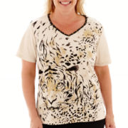 Alfred Dunner® Animal Magnetism Short-Sleeve Tiger Print Top - Plus