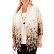 Alfred Dunner® Animal Magnetism 3/4-Sleeve Ombré Animal Layered Top with Necklace - Plus