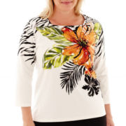 Alfred Dunner® Animal Magnetism 3/4-Sleeve Tropical Flower Print Top - Plus