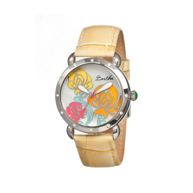 jcpenney.com | Bertha Josephine Womens Mother Of Pearl Dial Yellow Leather Strap Watch Bthbr1504