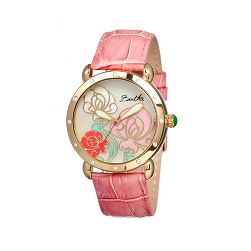 Bertha Josephine Womens Mother Of Pearl Dial Pink Leather Strap Watch Bthbr1505