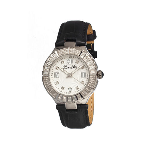 Bertha Evelyn Womens Black Leather Strap Watch With Date Bthbr1701