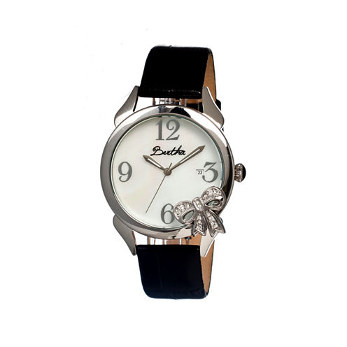 Bertha Bow Womens Mother Of Pearl Dial Black Leather Strap Watch Bthbr2102