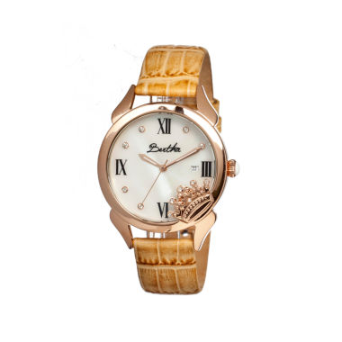 jcpenney.com | Bertha Queen Womens Mother Of Pearl Dial Cream Leather Strap Watch Bthbr2405