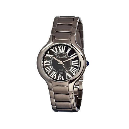 Bertha Maude Womens Mother Of Pearl Dial Silver Tone Bracelet Watch Bthbr2602