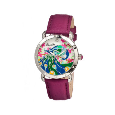 jcpenney.com | Bertha Didi Womens Mother Of Pearl Dial Fuschia Leather Strap Watch Bthbr2805