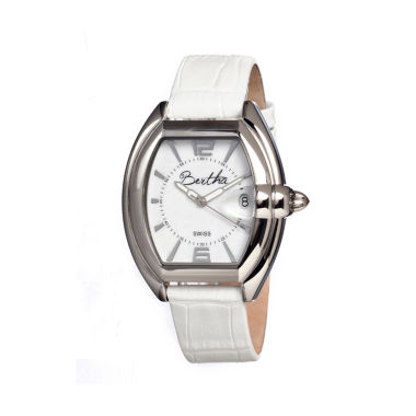 jcpenney.com | Bertha Chloe Womens Swiss White Leather Strap Watch Bthbr3401