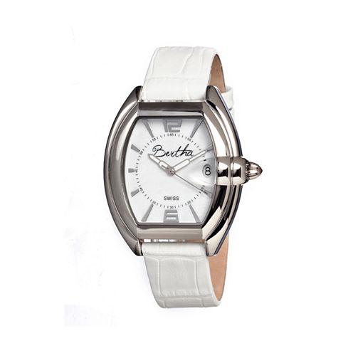 Bertha Chloe Womens Swiss White Leather Strap Watch Bthbr3401